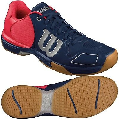 Wilson Vertex Mens Badminton Squash Shoes - Navy / Neon Red