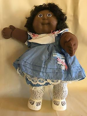Vintage 1988 Coleco Cabbage Patch Kid Girl Doll Brown Eyes Corn Silk Hair Dimple