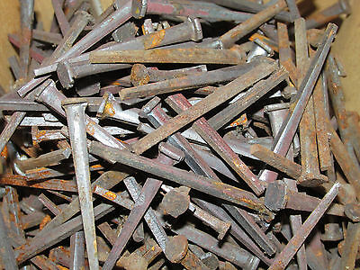 "Lot of 75 ANTIQUE SQUARE HEAD CUT 2"" hand cut NAILS New Old Stock NOS Barn Find"