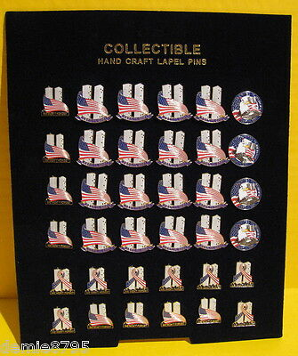 Lot of 36 on a display Sept.11 - 9/11 - Twin Towers Patriotic Lapel Pins