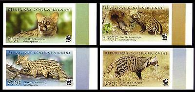 Central African Rep. WWF African Civet and Common Genet 4 imperforated stamps