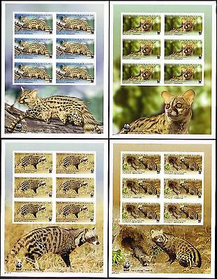 Central African Rep. WWF African Civet and Common Genet 4 imperforated Sheetlets