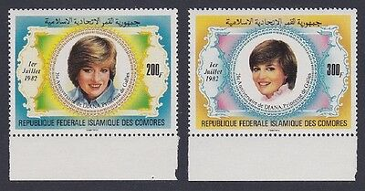 Comoro Is. 21st Birthday of Diana Princess of Wales 2v with Bottom margins