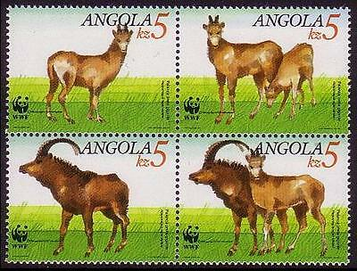 Angola WWF Giant Sable Antelope 4 stamps in block 2*2 SG#926/29 SC#781-84