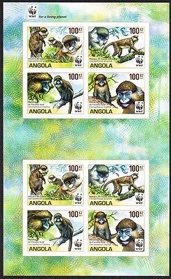 Angola WWF Monkeys Guenons MS of 2 sets /8v imperforated