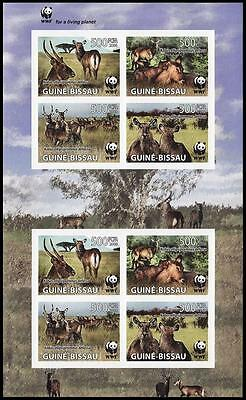 Guinea-Bissau WWF Defassa Waterbuck Imperforated Sheetlet of 2 sets / 8 stamps