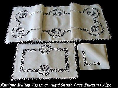 AMAZING 21pc Antique Italian Point de Venice lace Linen Placemats Reticella