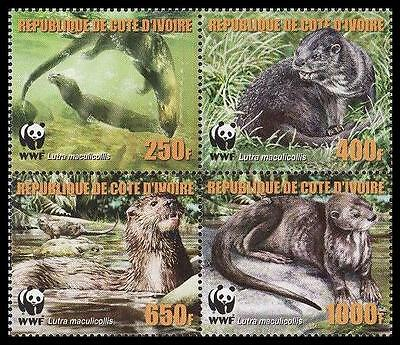 Ivory Coast WWF Speckle-throated Otter 4 stamps in block 2*2 reprint