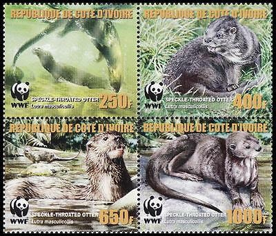 Ivory Coast WWF Speckle-throated Otter 4 stamps in block 2*2 with error