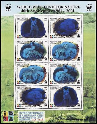 Kyrgyzstan WWF 40th Anniversary WWF Sheetlet of 2 sets / 8 stamps with overprint