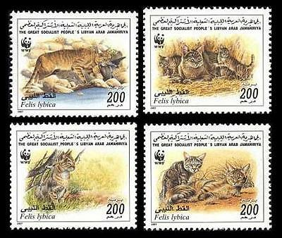 Libya WWF African Wild Cat 4 stamps SG#2654/57 SC#1594a-d MI#2496-99