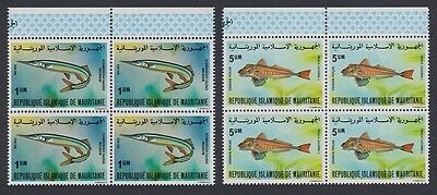 Mauritania Fish 2v Blocks of 4 with Top Margins SG#634a/34c SC#431A-431B