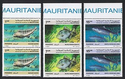 Mauritania Fish 3v in pairs with Top Margin SG#896/98 SC#631-33