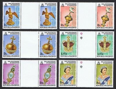 Maldives 25th Anniversary of Coronation 6v Gutter pairs SG#755/60 SC#735-742