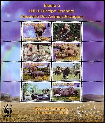 Mozambique WWF Savannah Elephant Birds Sheetlet of 4 stamps and 4 labels