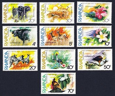 Rwanda Birds Wild Animals Flowers 10v SG#1123/32 SC#1112-21
