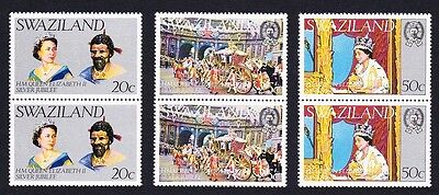 Swaziland Silver Jubilee 3v in pairs SG#268/70 SC#278-80