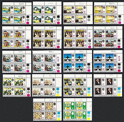 Seychelles Definitives 18v COMPLETE Blocks of 4 Control Numbers! SG#262/79