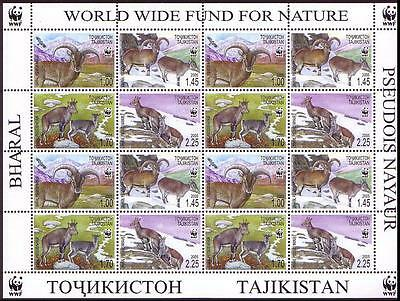 Tajikistan WWF Bharal Sheetlet of 4 sets/16 stamps SG#282/85 SC#266 a-d