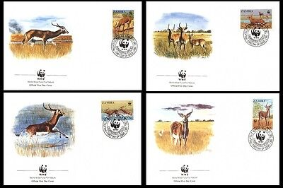Zambia WWF Black Lechwe 4 official FDCs