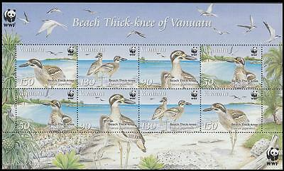 Vanuatu WWF Beach Thick-knee Sheetlet of 2 sets / 8 stamps SG#MS1063 SC#1008a-d