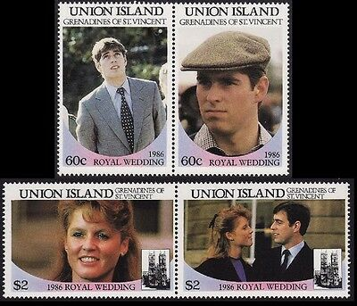 Union Island Royal Wedding Prince Andrew 4v pairs