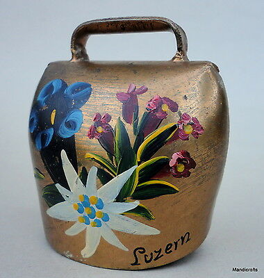 Swiss CowBell Lucerne Switzerland Souvenir Brass Finish Steel 3in Alpine Floral