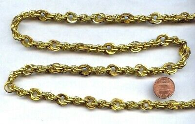 3 Feet Vintage Japan Brass Hand Made Fancy Large Cable Rope Linked Chain  W842