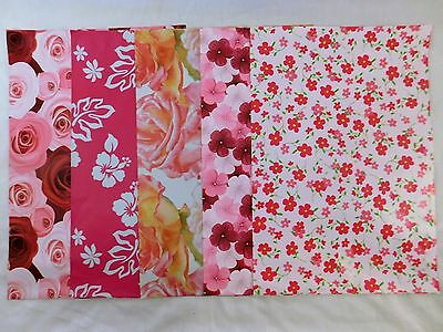 50 10x13 Designer Pink Flower Pack Mailers Poly Shipping Envelopes Boutique Bags