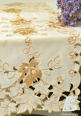 Oblong Table Runner, Embroidered  Vine Leaves, 40x90cm (16x36in) FFDWY54