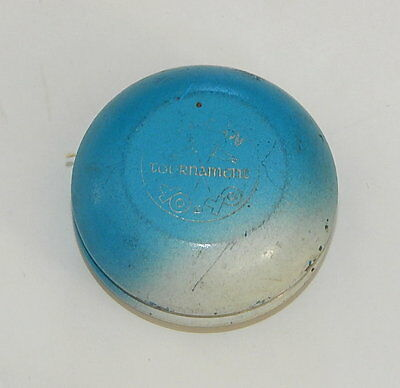 Vintage DUNCAN Tournament YO YO WOOD Wooden Blue White R11756