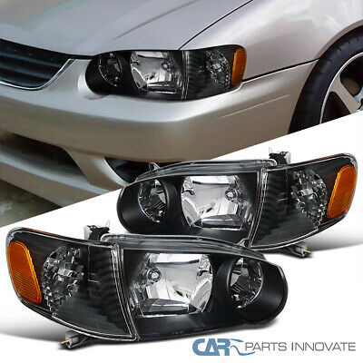 Fit 01 02 Toyota Corolla Jdm Black Headlights Corner Lights Turning Signal Lamps