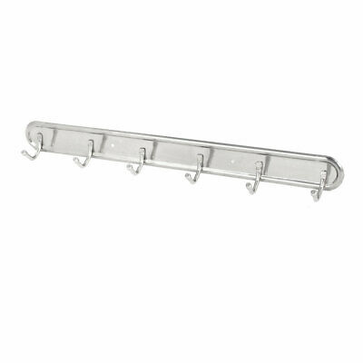 Robe Coat Hat Stainless Steel Wall Mounted 6 Hook Hanger Rail Rack