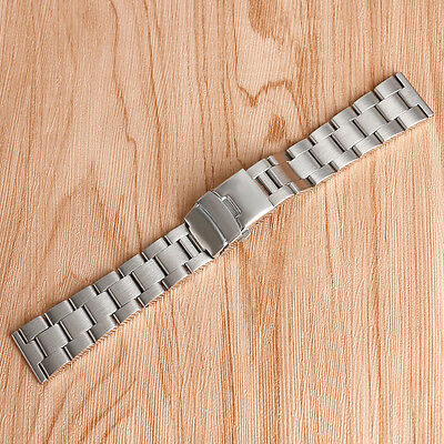 20/22mm Silver Stainless Steel Wrist Band Men Watch Strap Replacement Watchband
