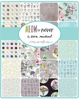 Patchwork/quilting Fabric Moda Charm Squares/packs - Meow Or Never