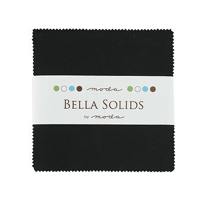 Patchwork/quilting Fabric Moda Charm Squares/packs - Bella Solids Black