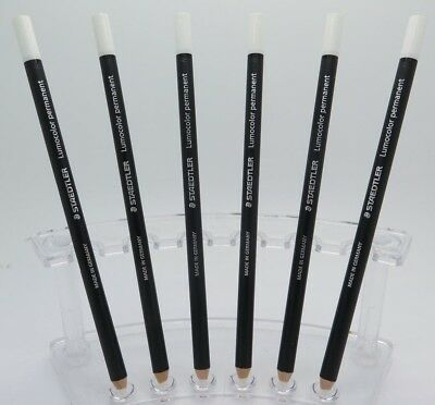 6 x WHITE Staedtler Glasochrom Chinagraph Lumo Pencil 108200 FREE POST