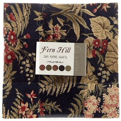 """Patchwork/quilting Fabric Layer Cake Fern Hill  - 40 X 10"""" X 10"""""""