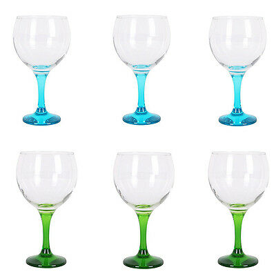Box of 6 Gin and tonic cocktail balloon glasses 650ml BLUE + GREEN foot £27.99!!