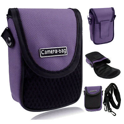 Purple Compact Digital Camera Case Universal Soft Bag Pouch + Strap
