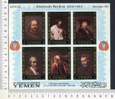 36339) YEMEN 1967 MNH** Rembrandt paintings S/S Imperf. ND