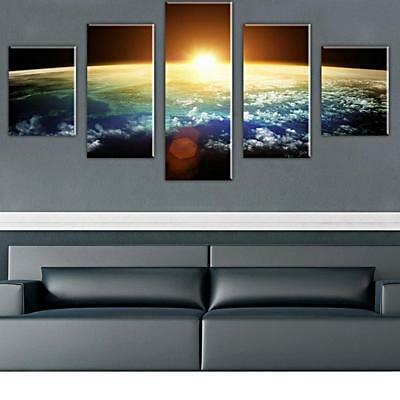5 Panels Earth Canvas Print Wall Art Hanging Painting Picture Unframed Decor
