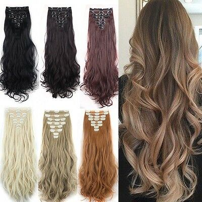 Blonde platine EXTENSIONS DE CHEVEUX NATUREL A CLIP 66CM 10% REMY HAIR Neuf
