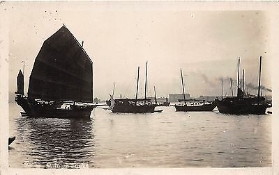 B7/ China Foreign Real Photo RPPC Postcard Chinese Junks Asia Boats