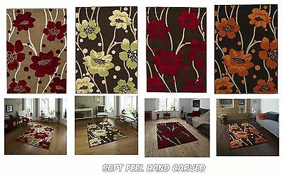 Extra Large  Floral Petal Hand Carved Dense Pile Friese Modern Area Rugs Carpet