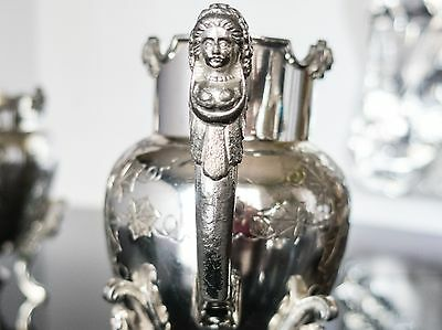 Antique Silver Plate Sugar Bowl And Creamer Figural Greek Egyptian Revival 1800s
