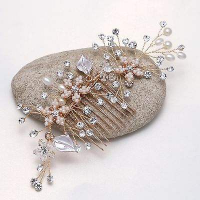 Fashion Rose Gold Rhinestone Faux Pearl Flower Leaf Wedding Bridal Hair Comb