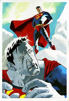 Kevin Nowlan original comic art Superman / Bizarro cover quality (& then some)