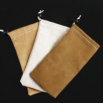 Mens Womens Deerskin Leather Glasses Sunglasses Pouch Sleeve Case Bag Drawstring