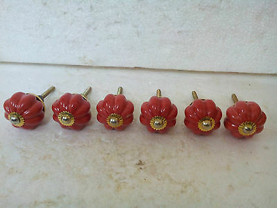Vintage 6Red Color Cabinet Ceramic Knobs Drawer Kitchen Furniture Handle,FNE EHS